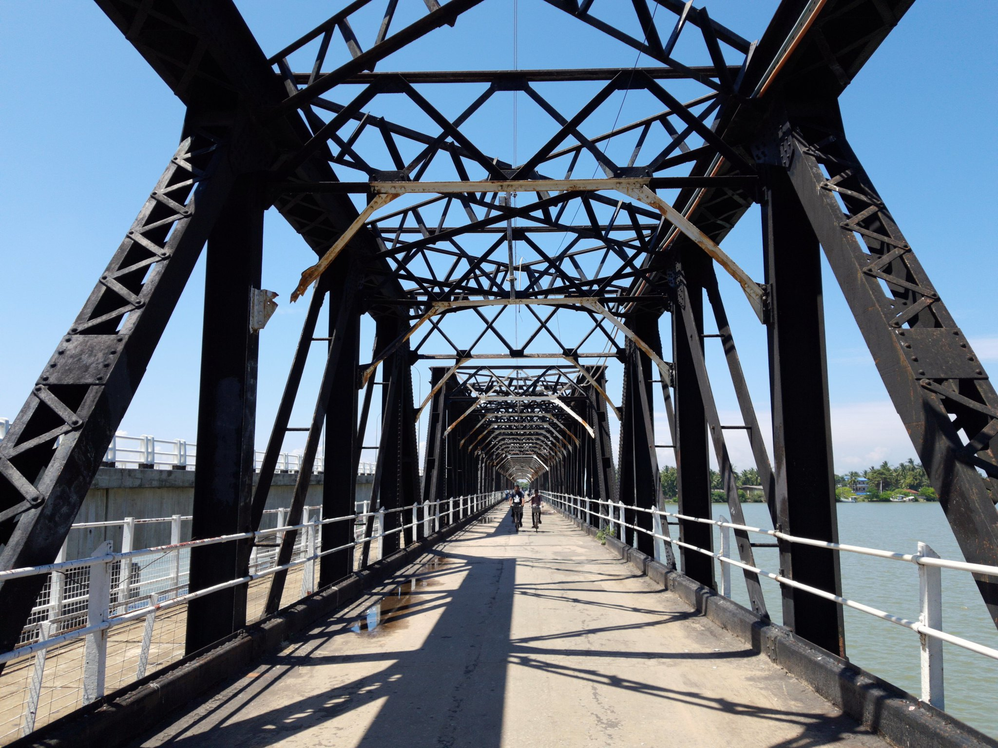 view along a historic steel bridge