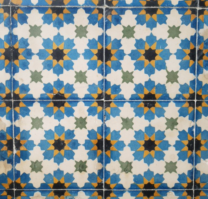 Moroccan tiles with a colorful geometric design